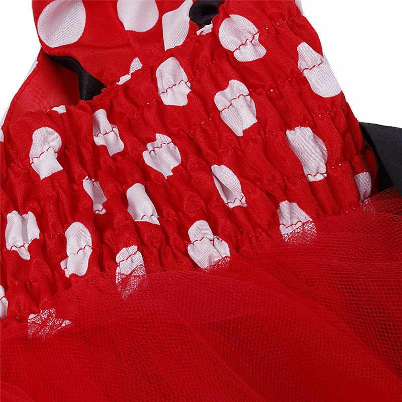 الطفلات الوردي الأحمر منقطة توتو أميرة حفلة زفاف العروسة فستان فتاة القماش للطفل 1-6y