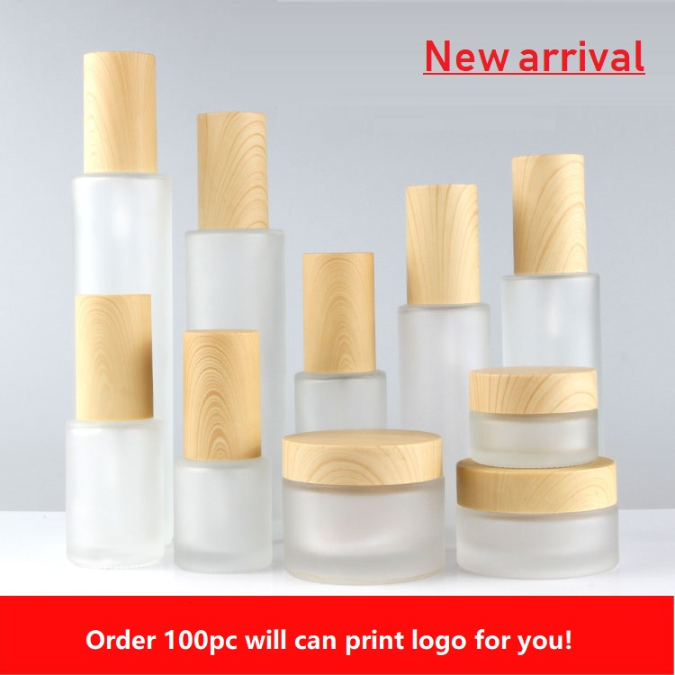 120ml,100ml,80ml,60ml,30ml,20ml Frosted Glass Lotion Pump Bottle,Wood Grain Cap,30g 50g Empty Cream Jar,Cosmetic Packing Bottle