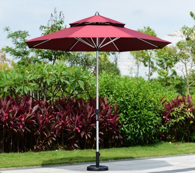 2.7 meter brushed aluminum outdoor sun umbrella patio covers garden parasol sunshade ( no base ) new panda windproof anti uv sun rain flower princess parasol folding umbrella bumbershoot