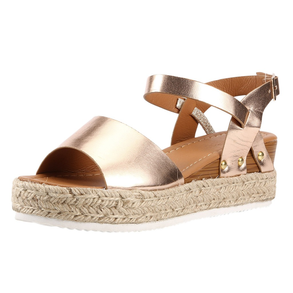 Sandals Hemp Wedge-Buckle Platform Large-Size Fashion Fish-Mouth Thick-Bottom Casual