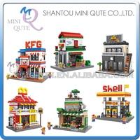Mini Qute LOZ Shell Gas Station Coffee Phone Restaurant Sweet Shop Diamond Plastic Building Block Scale