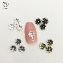 LEAMX 50 PCS/bag 3D Small Flowers Alloy Nail Art Decoration Silver/Bronze/Vintage Silver/Vintage gold Girls Manicure Decor L453