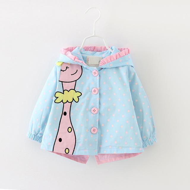 (3 cores) marcas nova primavera e outono crianças casacos meninas dots clothing meninas do bebê forma dos desenhos animados com capuz trench coats 4-24 meses