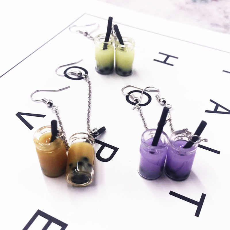 Personality Cute Pearl Milk Tea Drop Earrings Boba Bubble Tea Funy Earrings for Women Girls Unique Party Funny Jewelry Gifts