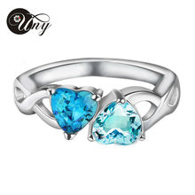 UNY 925 Sterling Silver Special Customized Engrave Family Anniversary Sentimental Gift Double Heart Shape Birthstone Mother Ring
