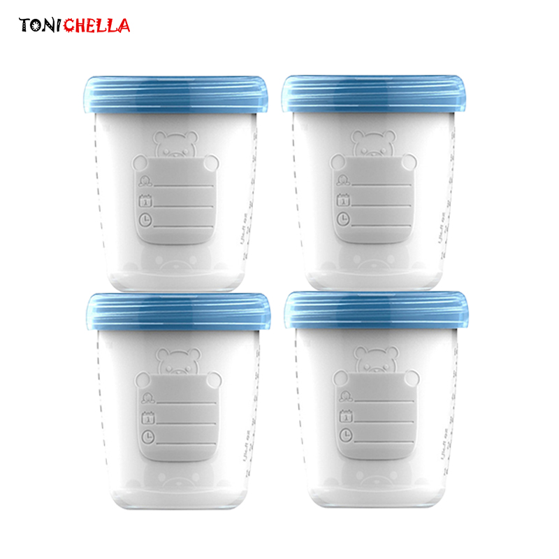 4pieces/ Baby Breast Milk Storage Bottle Collection Infant Newborn Food Freezer Container BPA Free Products Blue 180ml T0393 каталог punta