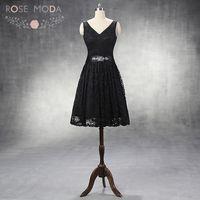 Rose Moda V Neck Black Lace Homecoming Dress Detachable Crystal Sash Little Black Dress LBD Custom Made