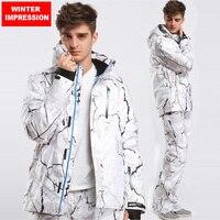 Зимний Впечатление новый стиль мужской лыжный костюм супер теплая одежда катание на лыжах Сноуборд костюм набор ветрозащитный водостойкий