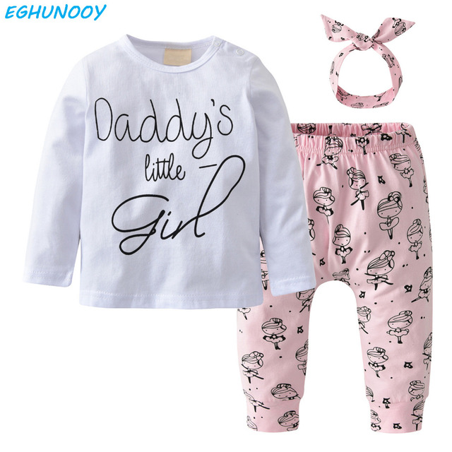 be29f4d6 Daddy's little girl newborn baby girl clothes long sleeve t-shirt+pants+headband  toddler outfit infant baby girls clothing set