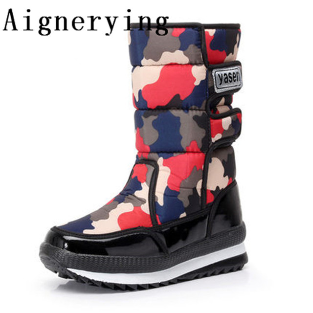 waterproof  Winter boots High Women Snow Boots plush Warm shoes easy wear girl camouflage zip shoes female hot boots