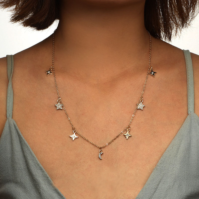 2018 Fashion Long Chain Bohemian Moon Zircon Five-pointed Star Single Clavicle Chain Necklace Summer Beach Women's Jewelry