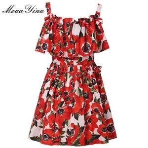 Image 1 - MoaaYina Fashion Designer Runway Cotton Dress Summer Women Spaghetti strap Ruffles Floral Print Vacation Mini Dress