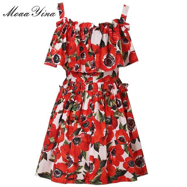 MoaaYina mode Designer piste coton robe dété femmes Spaghetti sangle volants Floral imprimé vacances Mini robe