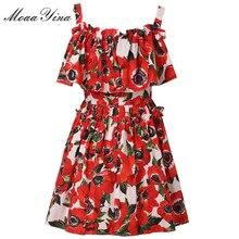 MoaaYina, модное дизайнерское подиумное Хлопковое платье, летнее женское платье на бретельках с оборками и цветочным принтом, мини платье для отпуска