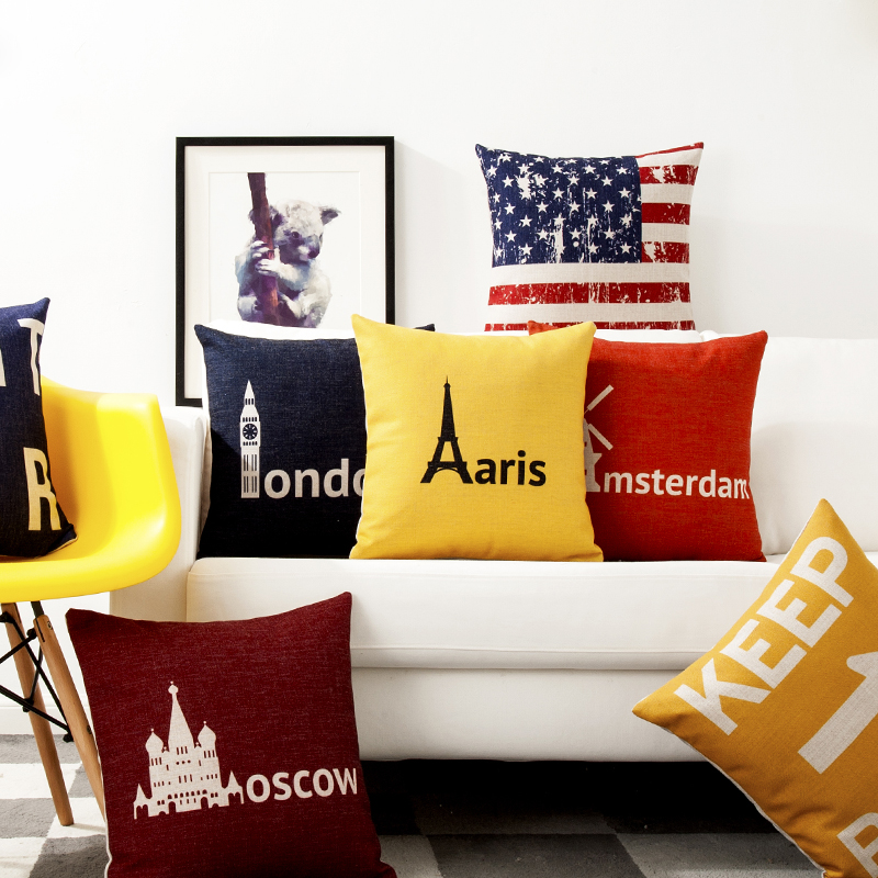 Europe The United States Red Yellow Blue Letter Pillow Cover Home