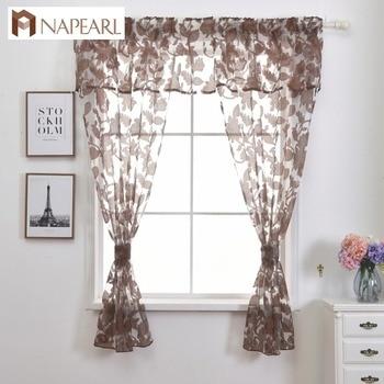 Organza tul cortina cocina corta cortina set cenefa hojas diseño ...