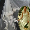 2017 Freeshipping White Veils Vestidos De Novia Hot Sale Tulle Veil Applique One-layer Bridal Gown Dress Accessory Decoration