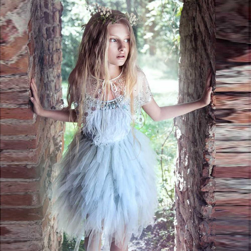 Irreguarly/фатиновые Платья с цветочным узором для девочек; коллекция 2019 года; пышные платья с перьями для девочек; платья для первого причастия; Детские платья для выпускного вечера