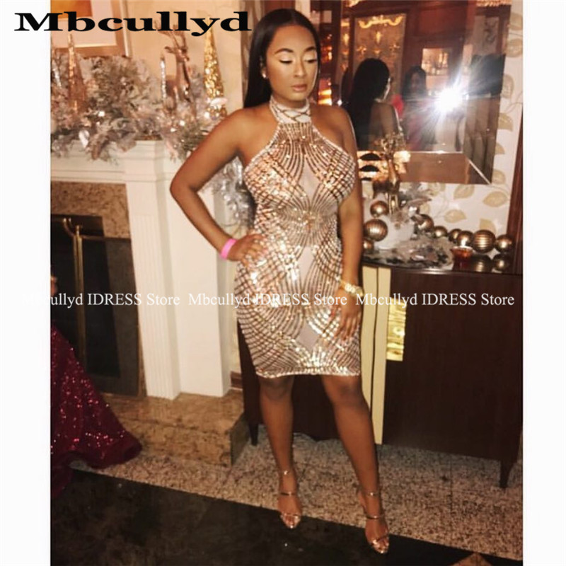 Sexy Short Mermaid African Prom Dresses 2019 Goegeous Sequined Gold Vestido De Festa Black Girls Cross Back Evening Gala Dress