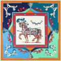 130x130 cm Лошадь Квадратных Шарф Женщин Twill Шелковый Платок Контраст Лоскутное Платки Новый