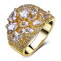 100% AAA Zirconia Sintética joyas de cristal de boda de la Sirena de Oro plateó los anillos de bodas para las mujeres