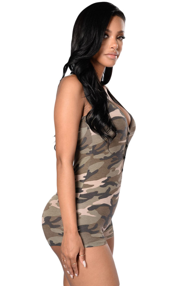 7869e796cb98 Dear Lover tracksuit for women club jumpsuits summer macacaos Sexy V neck  Sleeveless Camouflage Romper Shorts Bodysuit LC64071-in Rompers from  Women s ...