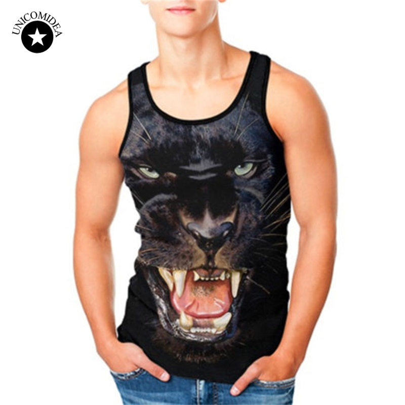 Mens Shirts Summer 3D Black Panther Slim Fit Men   Tank     Tops   Clothing Bodybuilding Undershirt Golds Fitness   Tops   Tees Plus Size