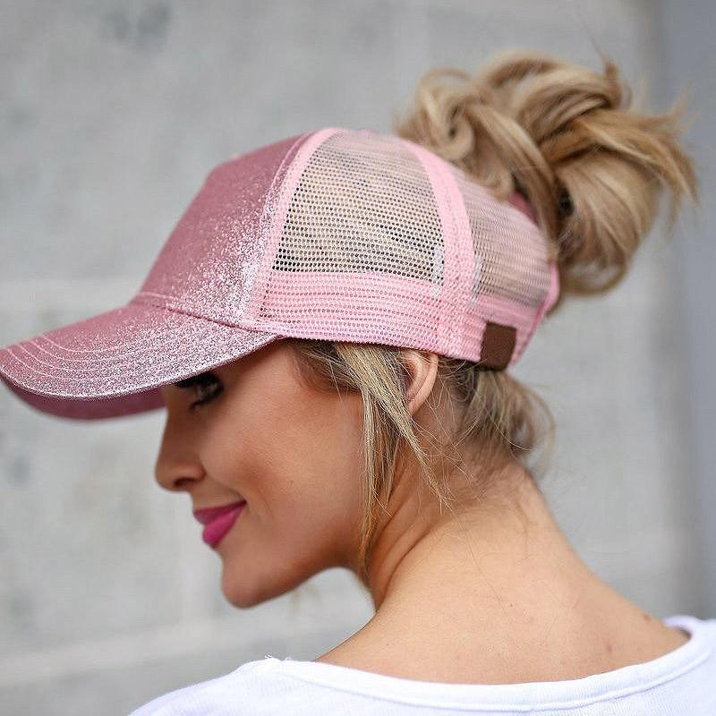 Kopfbedeckungen Für Damen Hilfreich Verkauf Glitter Pferdeschwanz Baseball Kappe Frauen Hysterese Hut Sommer Messy Bun Mesh Hüte Casual Einstellbare Sport Caps Drop Verschiffen