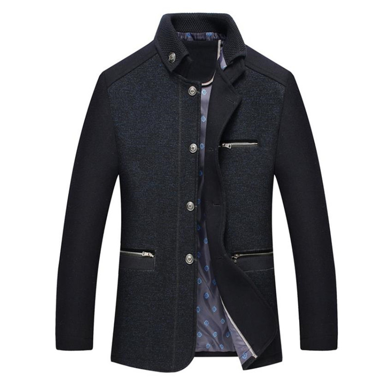 2018 autumn men's woolen coat business slim collar design men's wool jacket Solid color