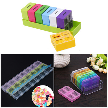 7 days portable travel pill medicine box organizer and pill box dispenser cutter cases