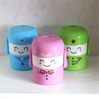 Chinese Plastic Cute Cartoon Bento Box Double Layer Lunch Box Students Lunchbox Food Container Storage Box