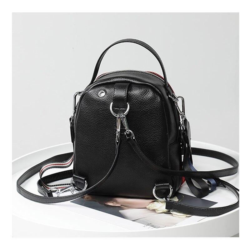 2019 春のコントラスト色牛革女性バッグパック韓国ソフトレザーミニバックパックプレッピースタイルガールスクールバッグ 3 ストラップ  グループ上の スーツケース & バッグ からの バックパック の中 3