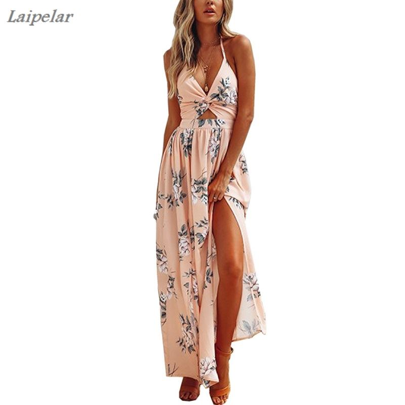 Women 39 s Boho Beach Dresses Summer Floral Bohemian Spaghetti Strap Slit Cut Out Swing Maxi Dress Laipelar in Dresses from Women 39 s Clothing