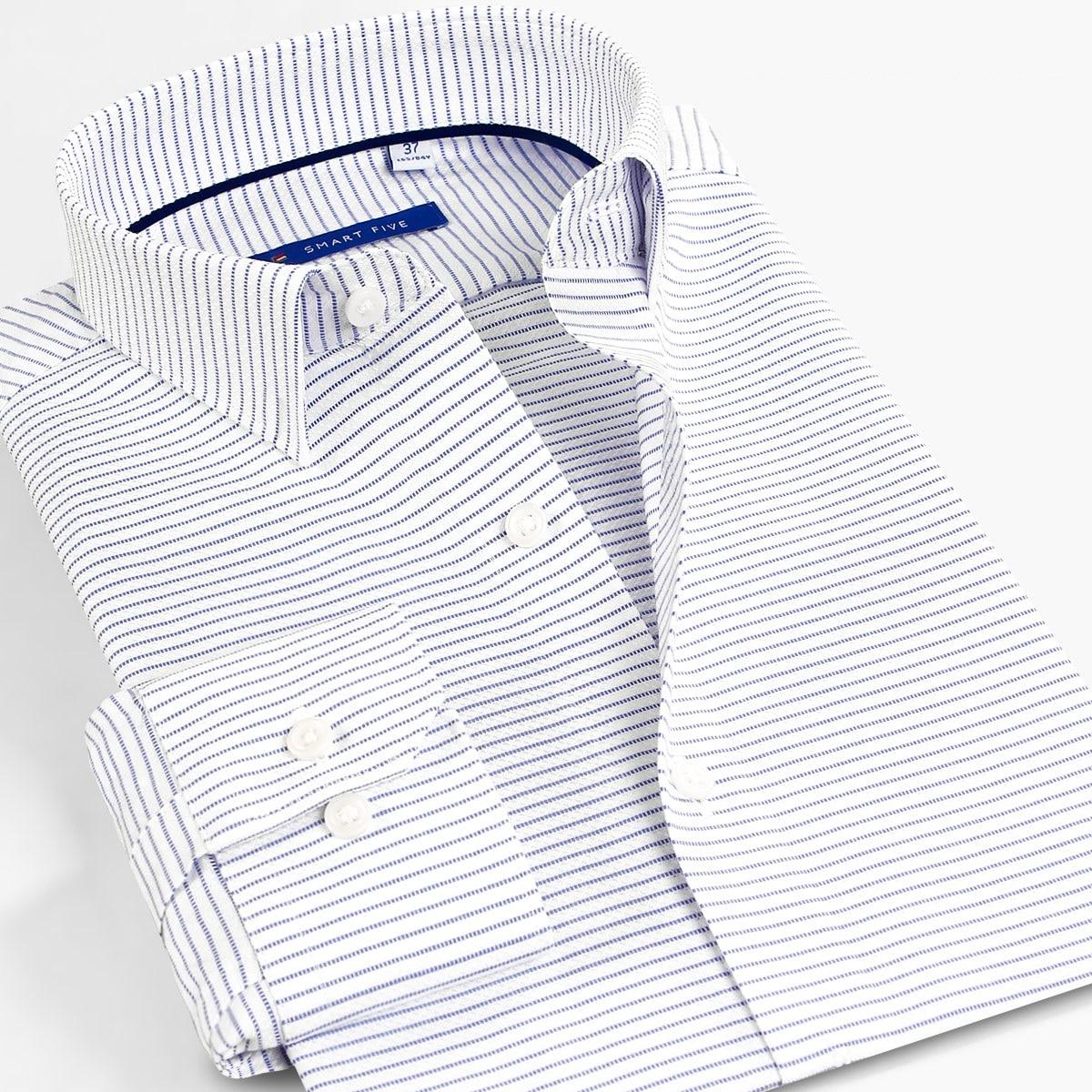 Smart Fünf Kleid Shirts Gestreiften Männer Shirts 5xl Baumwolle Langarm Formalen Shirts für Männer Büro Business camisa masculina-in Hemden aus Herrenbekleidung bei  Gruppe 1
