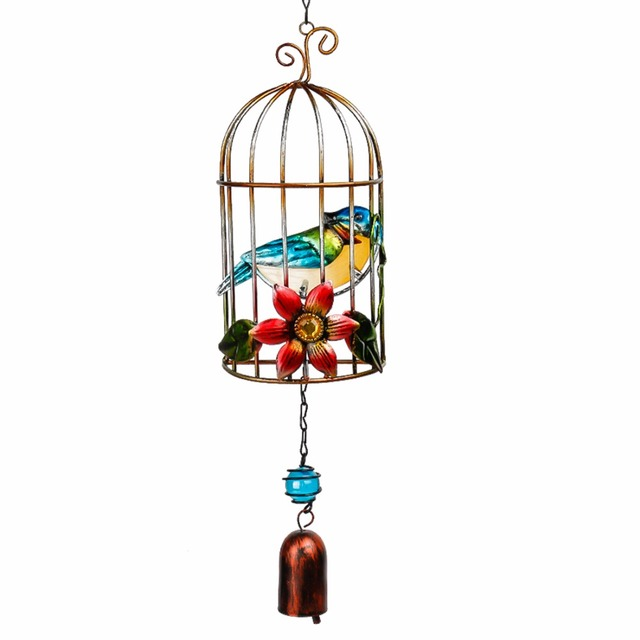 H D New Arrival Metal Blue Bird Wind Chimes Bell With Birdcage Home Decor Baby Children Gift Garden Ornaments