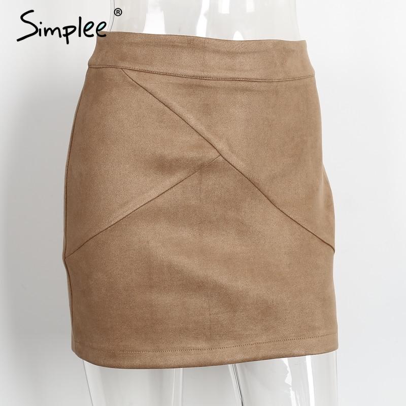 Simplee Autumn vintage leather suede pencil skirt winter 18 Cross high waist skirt Zipper split bodycon short skirts women 5