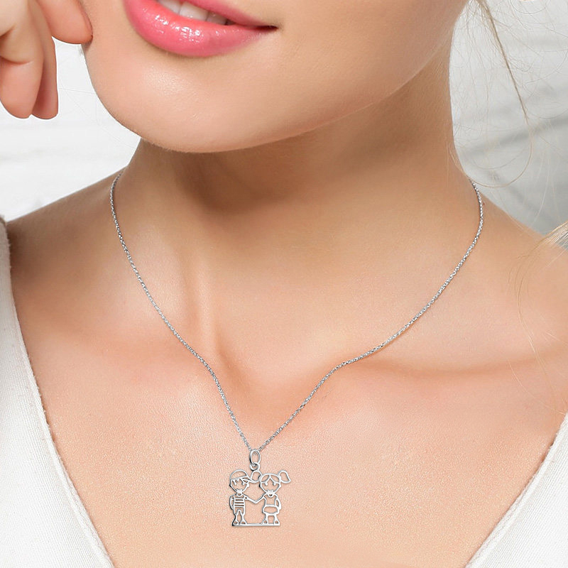 Lovely-Boy-And-Girl-Hand-In-Hand-Pendant-925-Sterling-Silver-Statement-Necklace-Friendship-Jewelry-Birthday