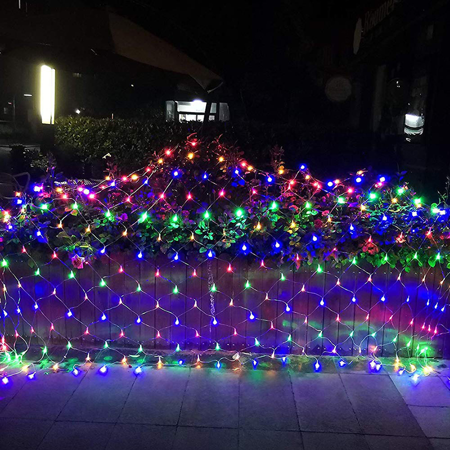 2.3x2M/3x3M 8 Modes Waterfall LED String Light AC220V Led Net Mesh String Light Holiday Wedding Christmas Decoration Light Lamp