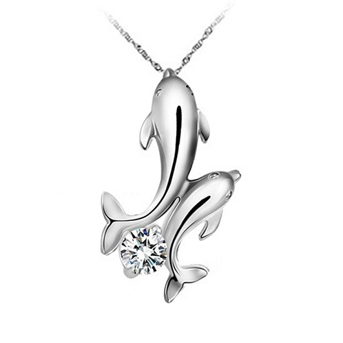 Fashion Selling Cute Silver Plated Double Dolphins Pendant Charm Chain Necklace Jewelry