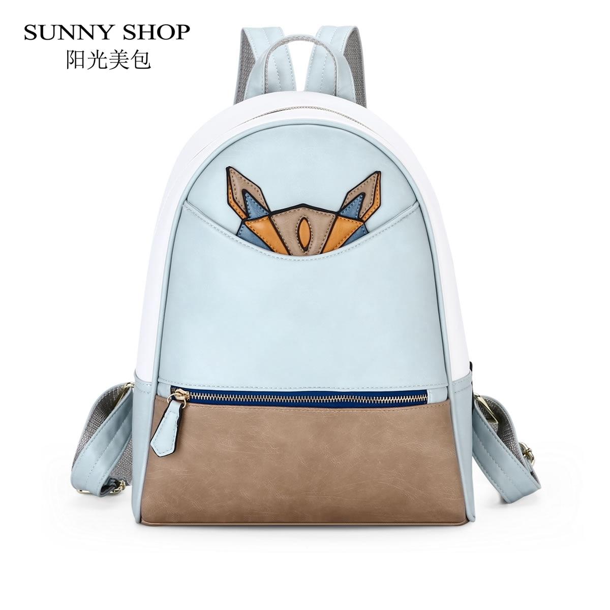 SUNNY SHOP Spanish Big School Backpack Korean Cute Women laptop Backpacks For Teenage Girls PU Leather Schoolbag bagpack A4