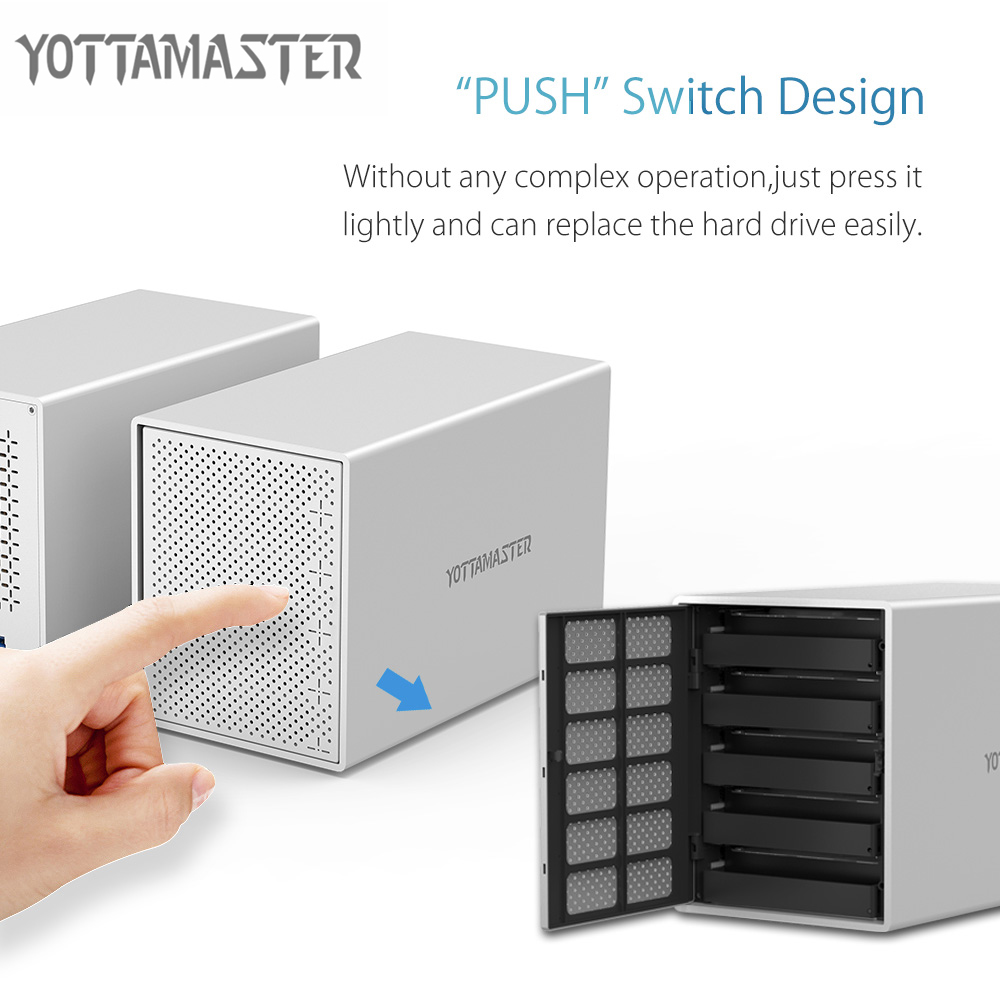 Yottamaster Aluminum HDD Case 5-Bay 3.5 inch 5Gbps USB3.0 to SATA HDD Docking Station Hard Drive Enclosure Support 50TB for PC orico 9528u3 2 bay usb3 0 sata hdd hard drive disk enclosure 5gbps superspeed aluminum 3 5 case external box tool free storage