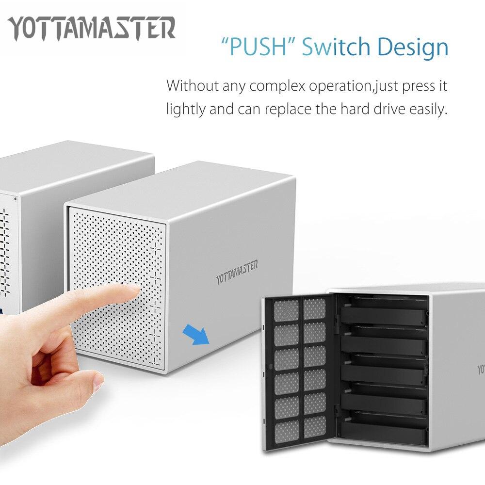 Yottamaster алюминиевый HDD чехол 5-Bay дюймов 5 Гбит/с USB3.0 для SATA HDD док-станция жесткий диск корпус Поддержка 50 ТБ для ПК