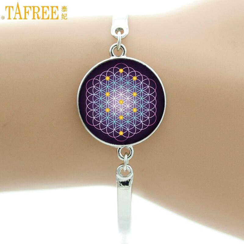 TAFREE women fashion Flower of Life Chakra bracelet Sacred Geometry Art Mandala Glass Cabochon bracelets handmade jewelry NS484