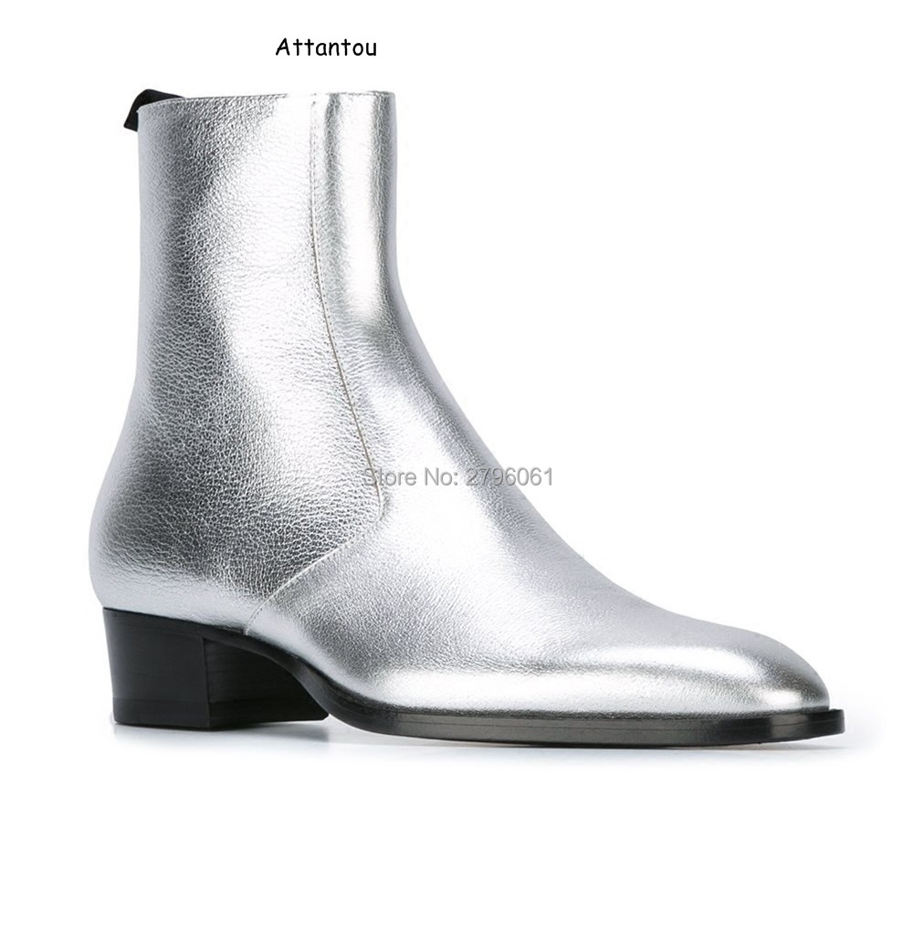 3ade07f1336b22 2017 fall Chelsea Boots zipper Western Boot Gold Silver Metallic Leather  ankle boots mens leather metal chain shoes size 37 46-in Chelsea Boots from  Shoes ...