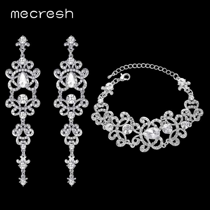 Mecresh Butterfly Crystal Bridal Earrings Bracelets Sets Silver/Gold Color African Wedding Jewelry Sets for Women EH166+SL032