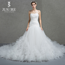 Crisscross Pleat Strapless Neckline Lace up Back Elegant Bridal Gown Big Feather Ruffles Tail Indulgent Train Wedding Dress