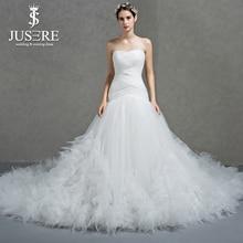 Vestido de novia plisado entrecruzado escote sin tirantes con cordones en la espalda elegante traje de novia pluma grande volantes cola vestido de novia