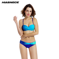 Sexy Womens Twist Bandea Bikini Blue Low Waist Solid Gradient Color Women Separates 2Pcs Swimwear Plus