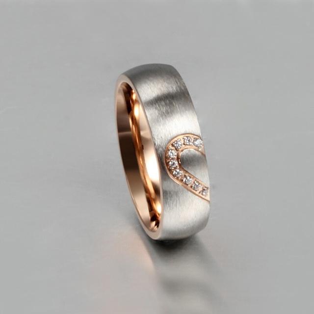Fashion love heart couple rings 1 pair