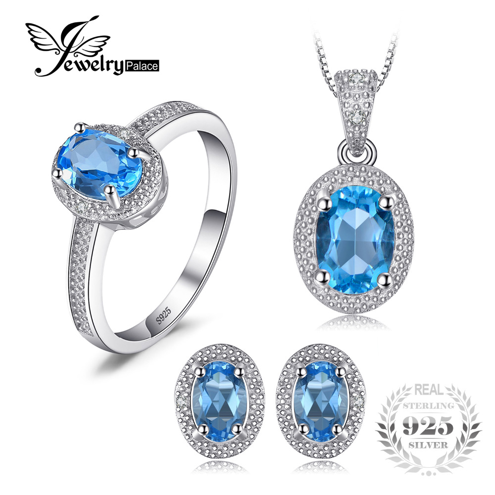 JewelryPalace Classic 3ct Genuine Swis Blue Topaz Halo Ring Pendant Necklace Stud Earrings Jewelry Sets 925 Sterling Silver 45cm jewelrypalace 2 55ct natural lemon quartz halo ring stud earrings pendant neckalce chain 45cm 925 sterling silver jewelry sets